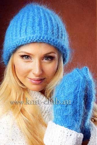 1440849550_106163917_5054806_vjazanaja_shapka_iz_mohera_2 Как связать шапку спицами для начинающих — схемы вязания, уроки вязания шапки. Как вязать шапку спицами