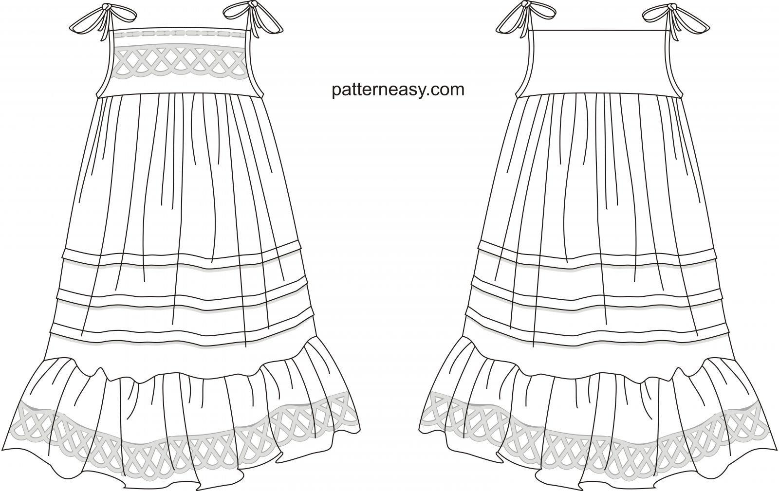Выкройка платья на беби бона в натуральную величину