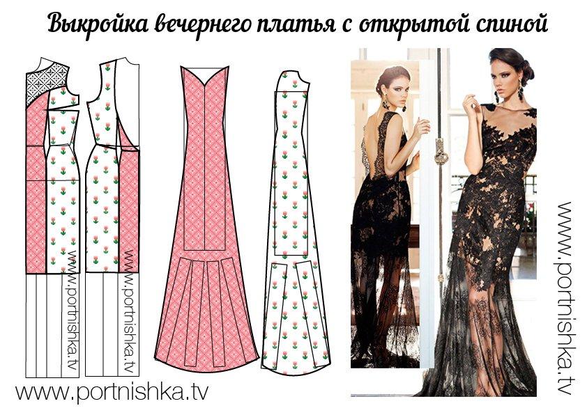 23075bf8888 Выкройка платья в пол  с длинными рукавами и открытой спиной