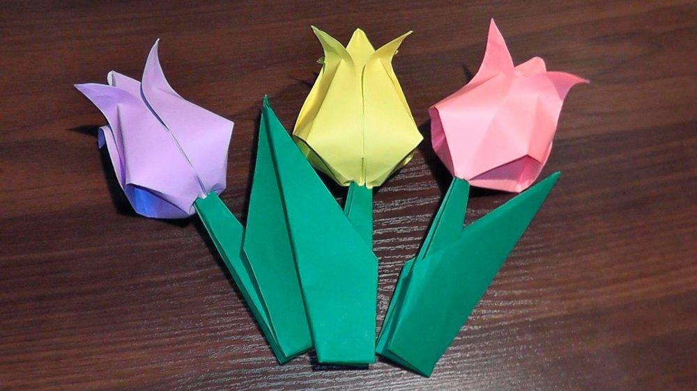 1461931609_maxresdefault Букет тюльпанов из бумаги (оригами) - 3 варианта