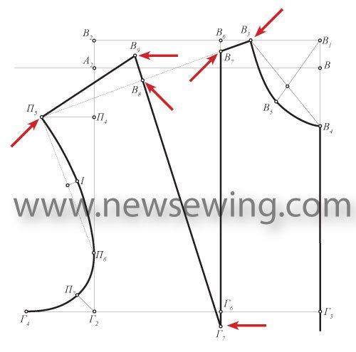 fc9640eccea Разграничиваем спинку и перед линией бокового шва. Для этого ширину зоны  проймы делим на 3 равные части и через левую точку строим вертикальную линию .