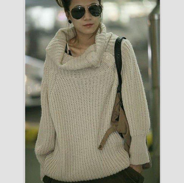 белый свитер крупной вязки вяжем спицами мужской и женский свитер