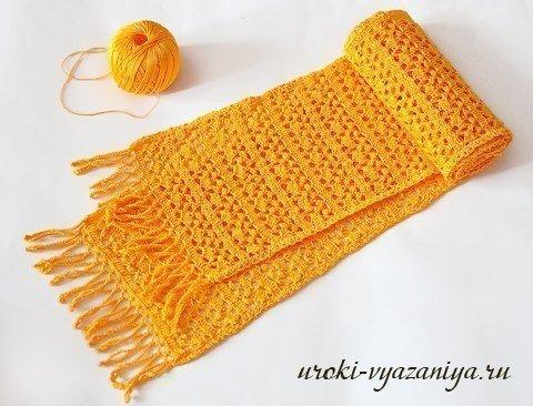 Вязание шарфа крючком видео для начинающих