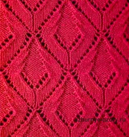 вязание спицами ажурные ромбы схемы и описание