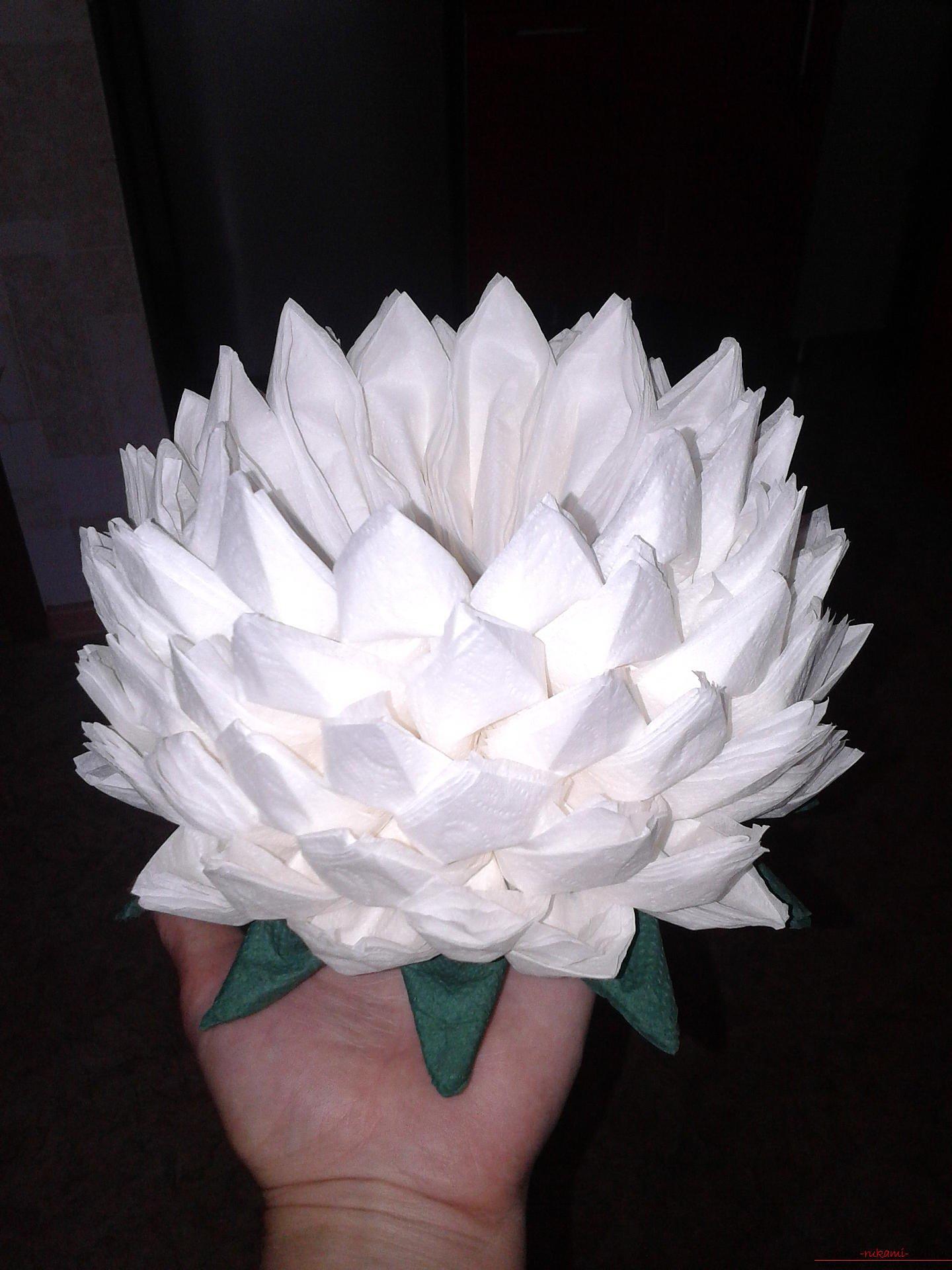 Пошаговая инструкция цветы из салфеток своими руками