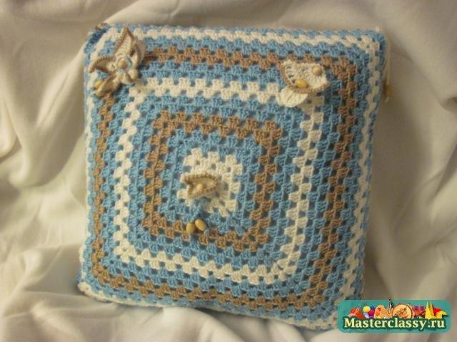 Вяжем крючком наволочку на подушку для начинающих