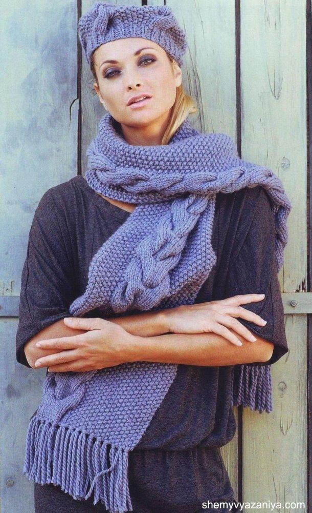 1481148786_shapka_06 Снуд спицами для женщин: схемы вязания, новинки, узоры, размеры. Как связать красивый шарф снуд хомут, капюшон, трубу, с косами, ажурный спицами с описанием?