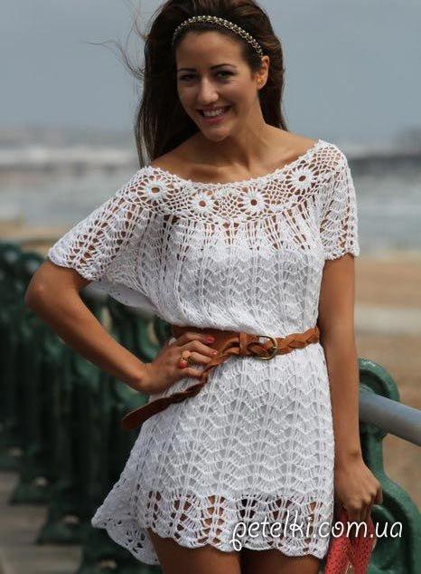 25729f54703 Вяжем быстро и легко летнее платье крючком для начинающих мастеров