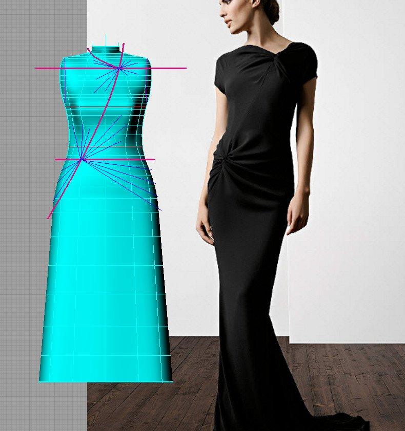 514555cbde3 Второй способ оформления драпировки поверхности наряда заключается в  пришивании к поверхности основного платья спадающих свободных элементов  ткани.