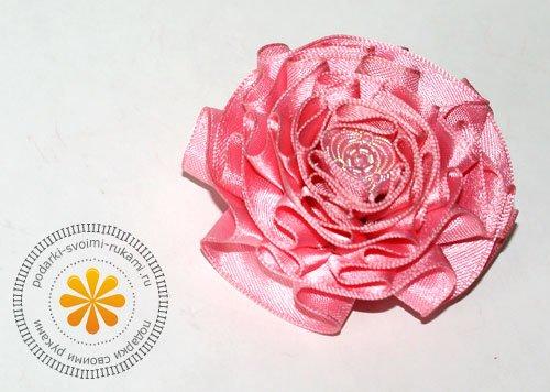 1494616526_95681634_krasivyecvetyizlentsvoimirukami Как сделать розу из атласной ленты?