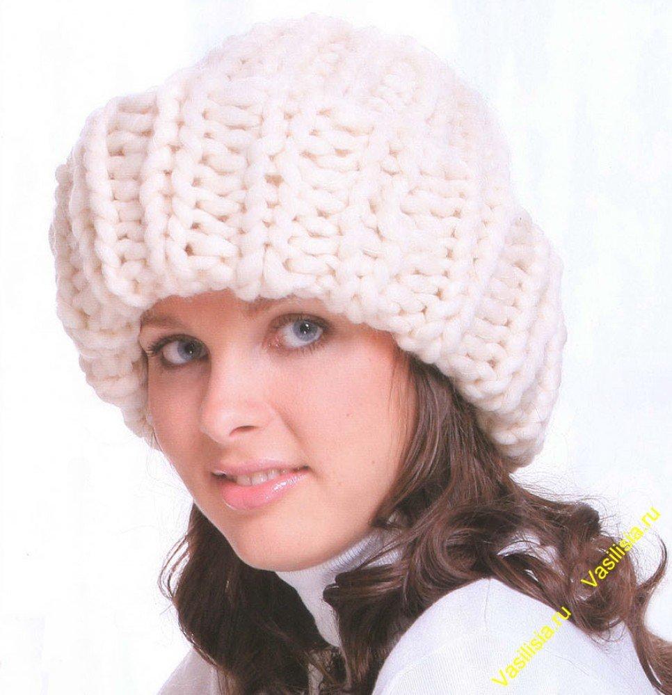 женская шапка спицами схема для начинающих
