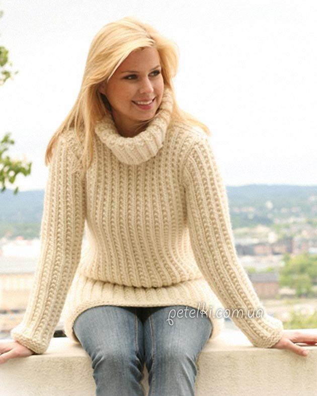 женские вязаные свитера разные варианты исполнения со схемами
