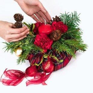 Новогодние икебаны своими руками