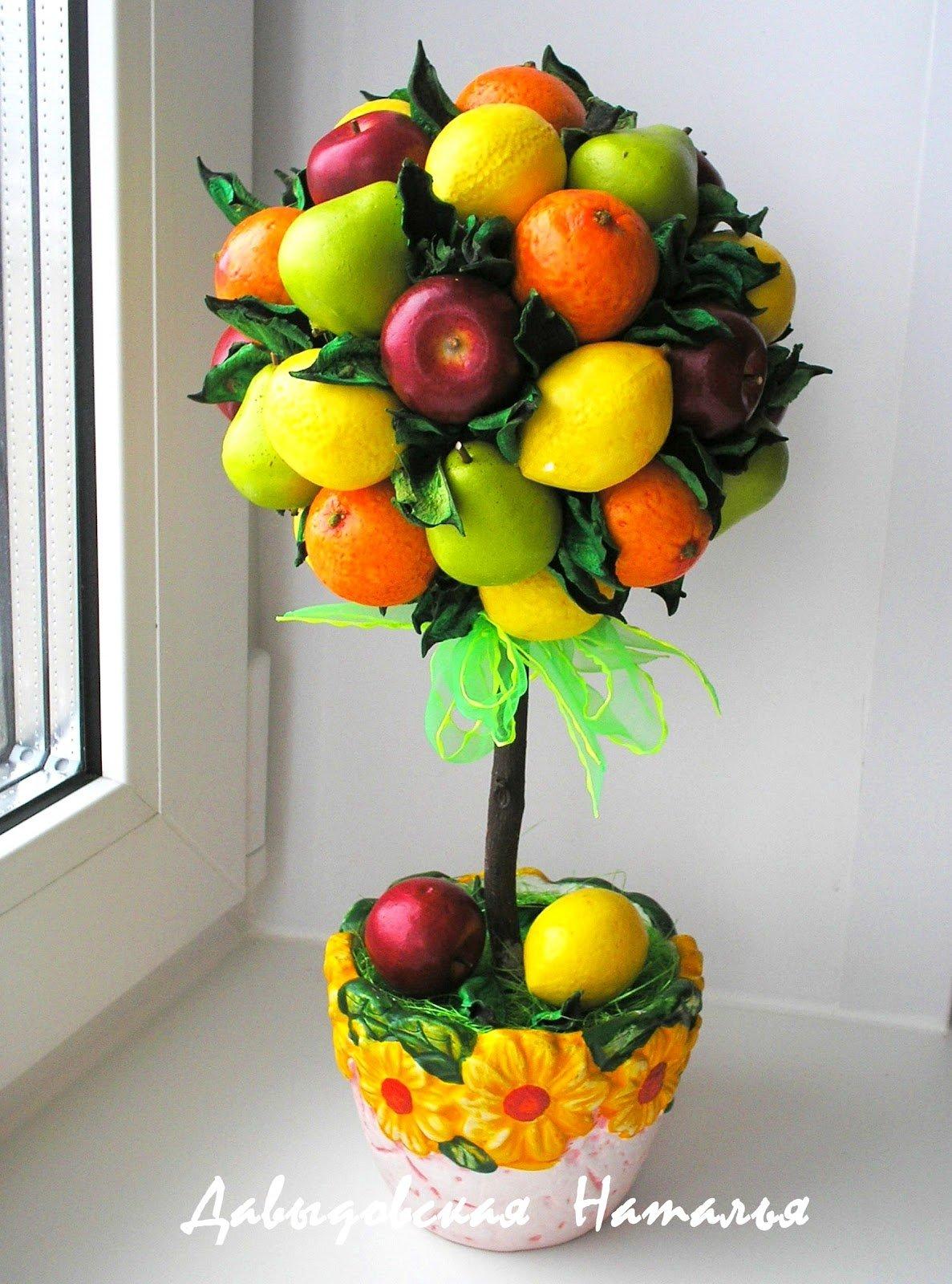 Топиарий с фруктами своими руками для начинающих фото 383