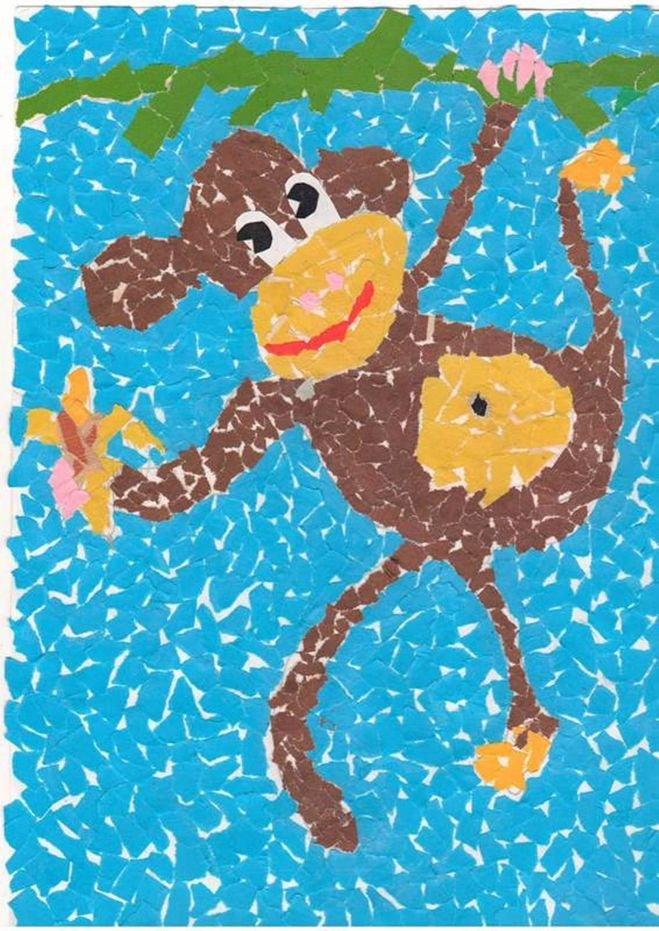 Мозаика бумажной мостовой поделка поздравительная открытка