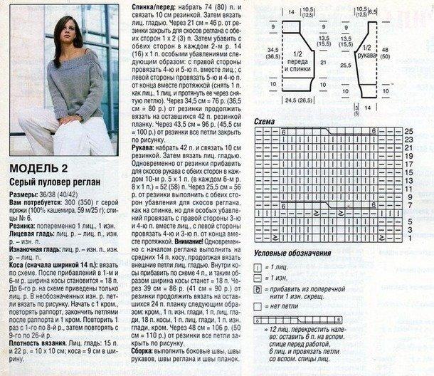 свитер с открытыми плечами схема вязания и фото